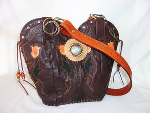 Cowboy Boot Purse - Western Leather Purse – Handmade Leather Purse - DB314 cowboy boot purses, western fringe purse, handmade leather purses, boot purse, handmade western purse, custom leather handbags Chris Thompson Bags