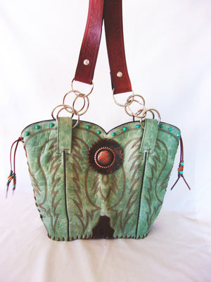 Cowboy Boot Purse - Handcrafted Western Handbag - Leather Western Purse DB317 cowboy boot purses, western fringe purse, handmade leather purses, boot purse, handmade western purse, custom leather handbags Chris Thompson Bags