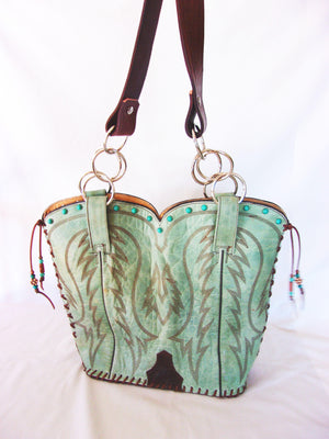 Cowboy Boot Purse - Western Leather Purse – Handmade Leather Purse - DB317 cowboy boot purses, western fringe purse, handmade leather purses, boot purse, handmade western purse, custom leather handbags Chris Thompson Bags