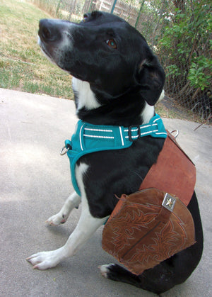 Leather Doggy Saddle Bag pup03 - Distinctive Western Handbags, Purses and Totes