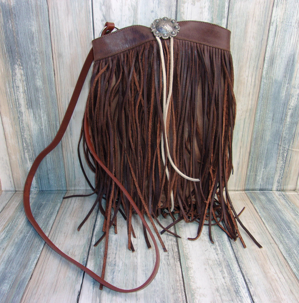 Brown Berry Fringe Bag - Cowboy Boot Purse - Western Fringe Purse
