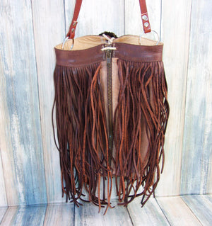 Brown Berry Fringe Bag