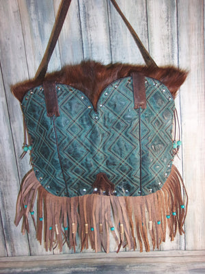 Flap-Top Fringe Boho Bag FT05 - Distinctive Western Handbags, Purses and Totes