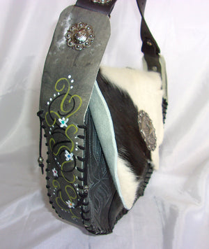 Hair-on-Hide Hand-Painted Flap Top Bag FX13 - Cowboy Boot Purses by Chris Thompson for Distinctive Western Fashion