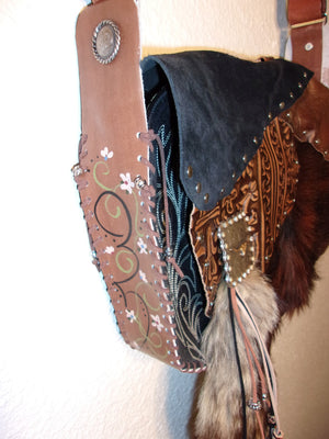Fox Tail Hand-Painted Flap Top Bag FX14 - Cowboy Boot Purses by Chris Thompson for Distinctive Western Fashion