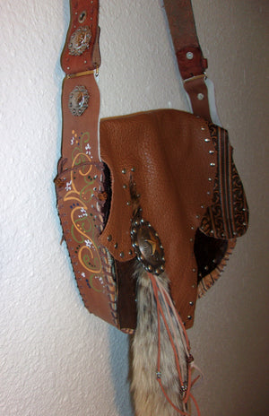 Fox Tail Hand-Painted Flap Top Bag FX19 - Cowboy Boot Purses by Chris Thompson for Distinctive Western Fashion