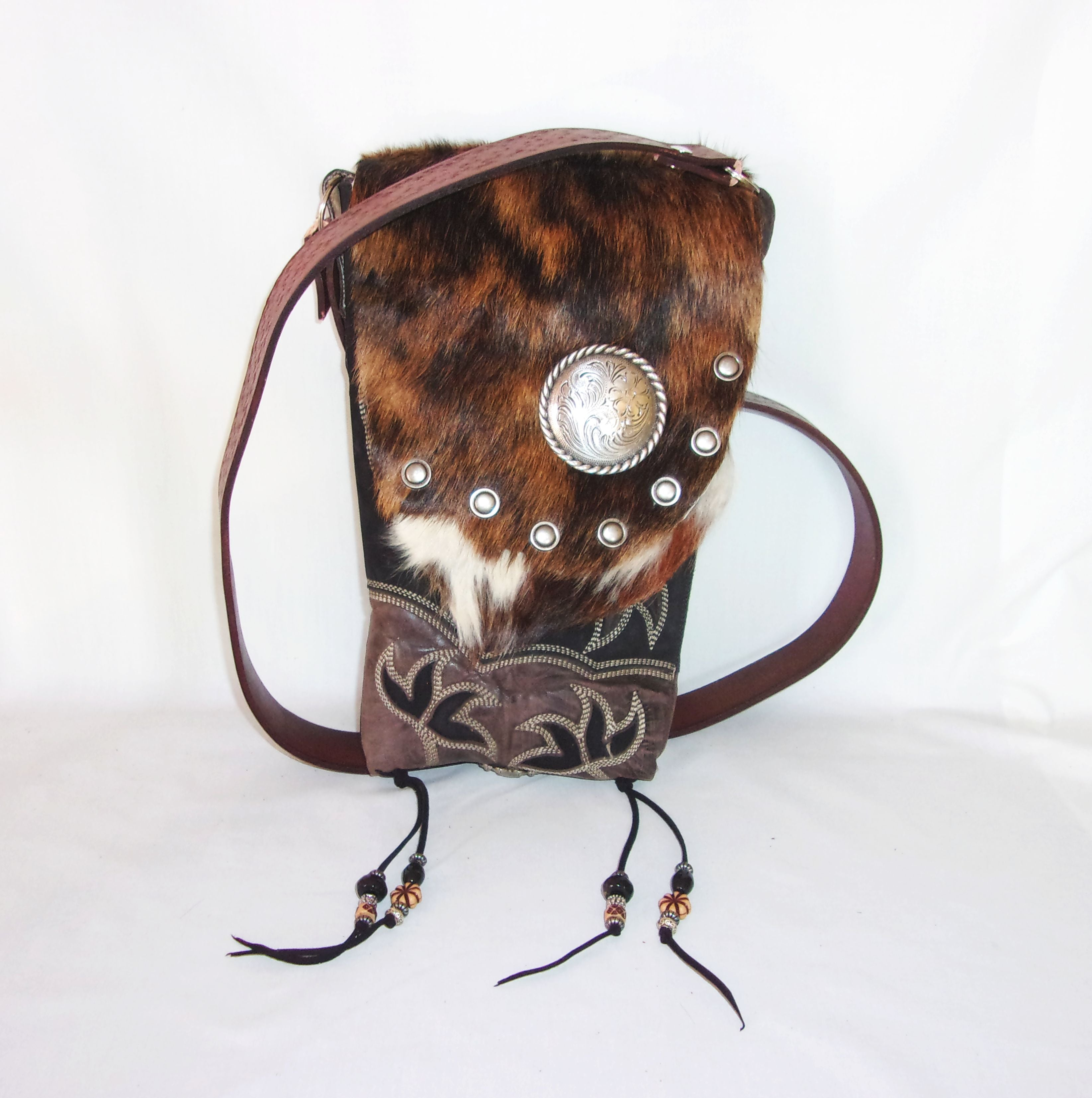 Hair on Hide Bag - Cowboy Boot Purse - Cowhide Purse - Handcrafted Crossbody Purse HH04