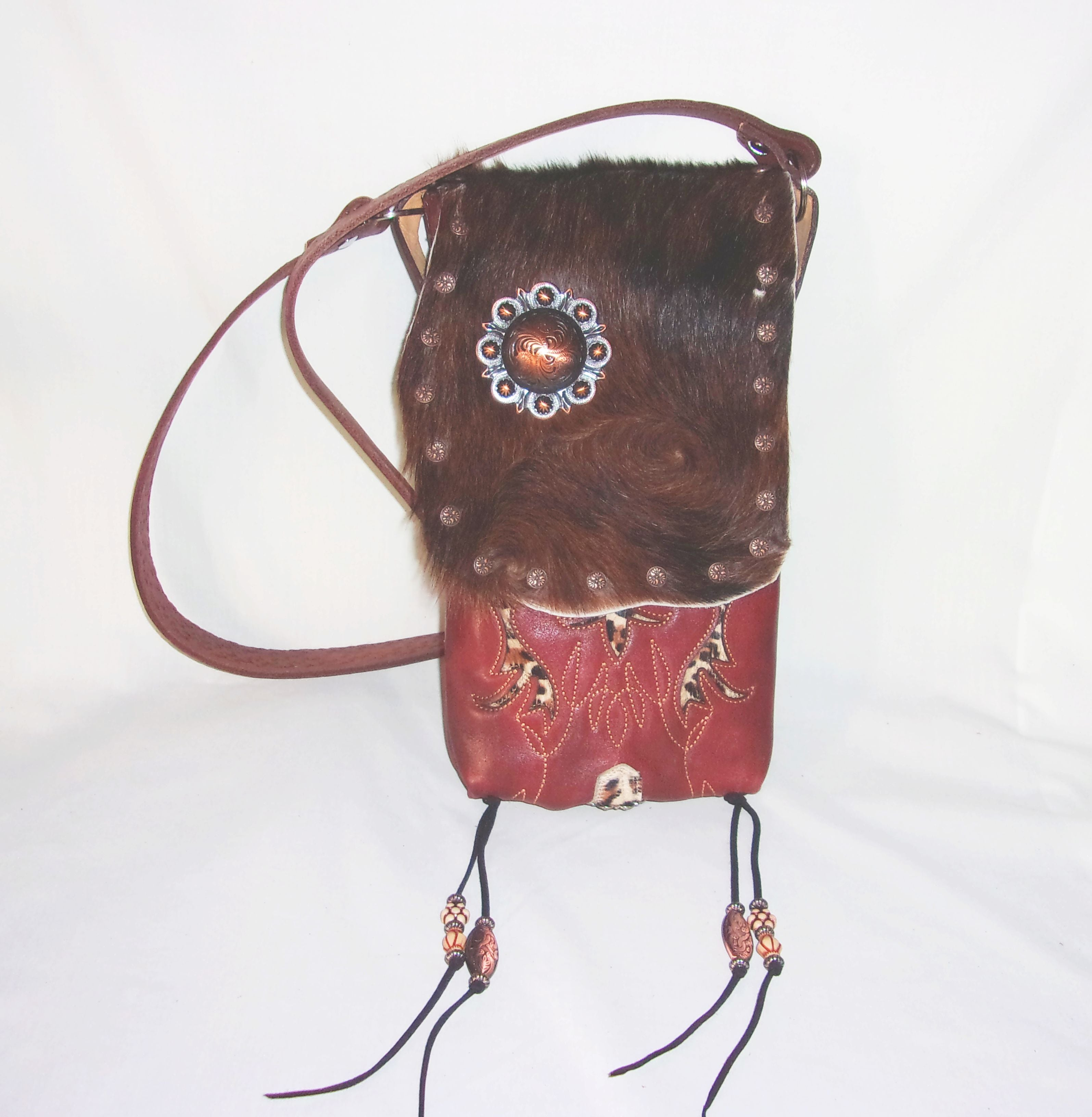 Hair on Hide Bag - Cowboy Boot Purse - Cowhide Purse - Handcrafted Crossbody Purse HH10