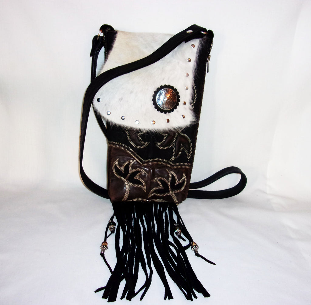 Hair on Hide Bag - Cowboy Boot Purse - Cowhide Purse - Handcrafted Crossbody Purse HH31