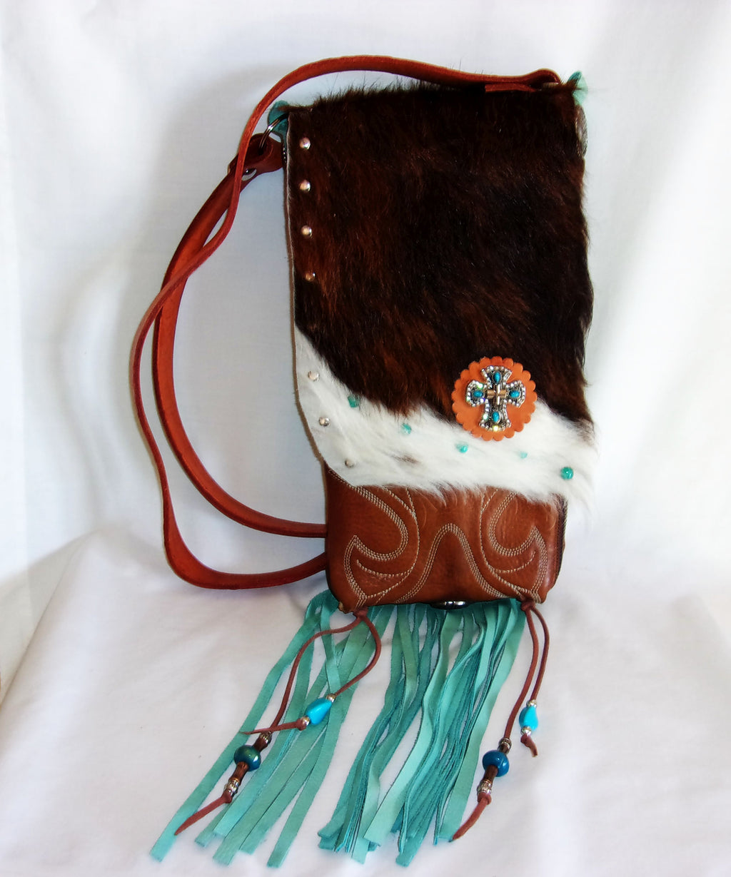 Hair on Hide Bag - Cowboy Boot Purse - Cowhide Purse - Handcrafted Crossbody Purse HH32