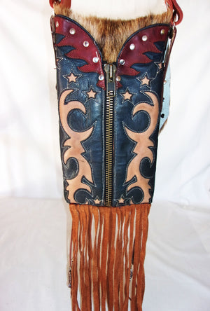 Hair on Hide Bag - Cowboy Boot Purse - Cowhide Purse - Handcrafted Crossbody Purse HH38