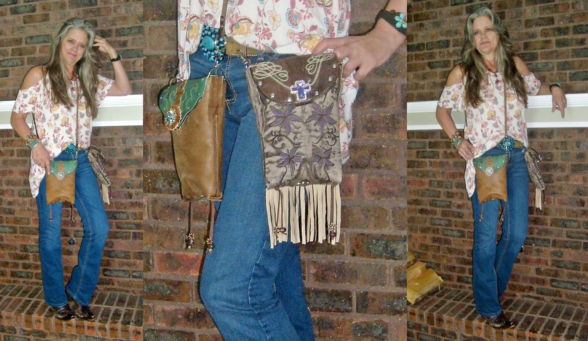 Cross Fringed Cross-Body Leather Hipster HP718 - Cowboy Boot Purses by Chris Thompson for Distinctive Western Fashion