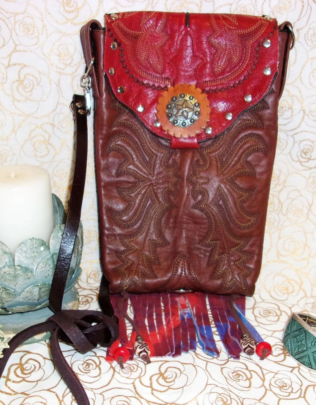 Red Star Tie Dye Cross-Body Leather Hipster HP442 - Cowboy Boot Purses by Chris Thompson for Distinctive Western Fashion