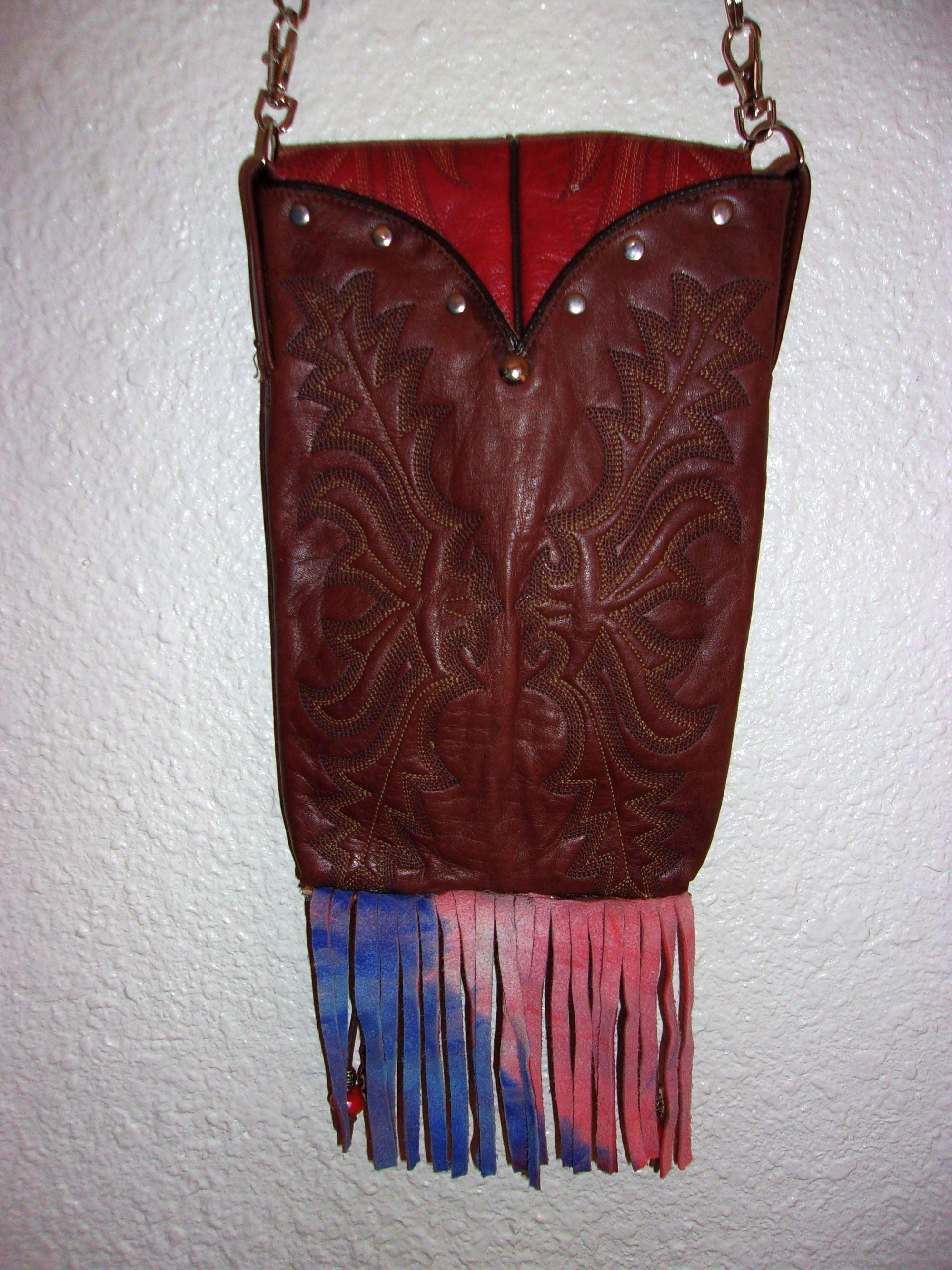 back of one-of-a-kind red leather crossbody messenger bag handcrafted from cowboy boots