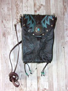 black and turquoise unique small leather purse crossbody bag handcrafted from recycled cowboy boots