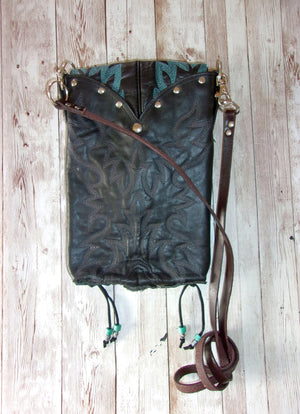hanging black and turquoise unique small leather purse crossbody bag handcrafted from recycled cowboy boots