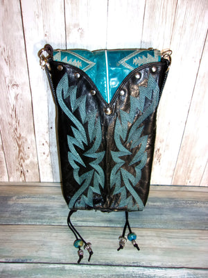 Black Santa Fe Cross-Body Leather Hipster Cowboy Boot Purse HP570 - Distinctive Western Handbags, Purses and Totes