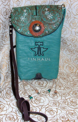 Turquoise Flowered Cross-Body Leather Hipster HP575 - Cowboy Boot Purses by Chris Thompson for Distinctive Western Fashion