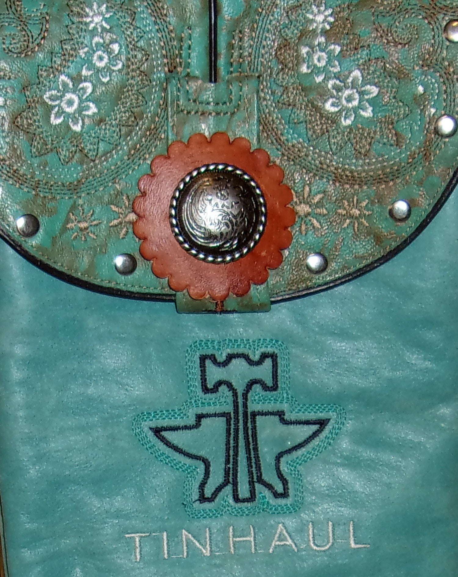Turquoise Flowered Cross-Body Leather Hipster HP575