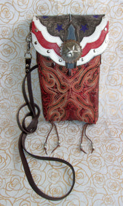 americana unique small leather purse crossbody bag handcrafted from recycled cowboy boots