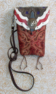 Red Americana Cross-Body Leather Hipster HP600 - Cowboy Boot Purses by Chris Thompson for Distinctive Western Fashion
