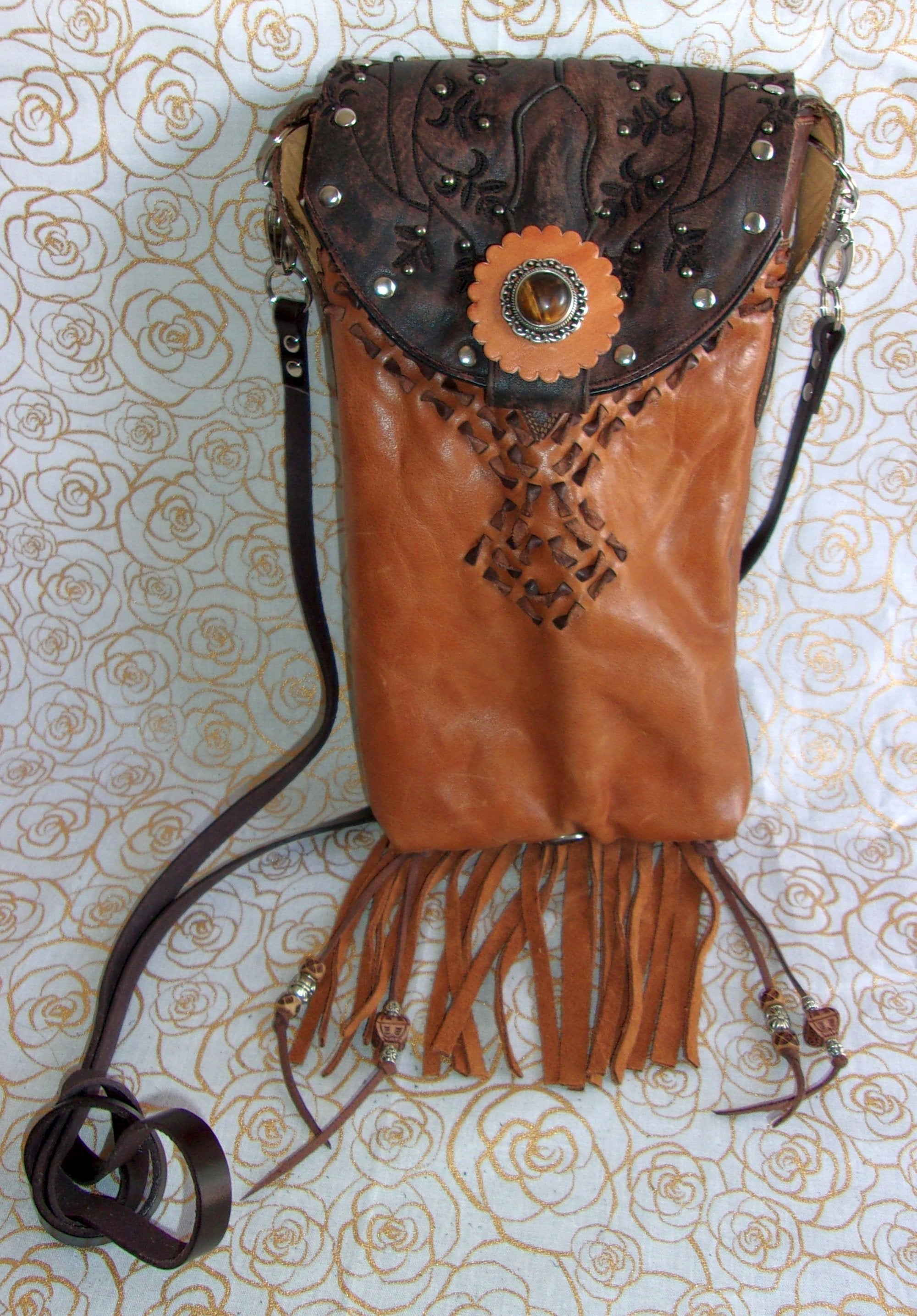 tigers eye fringed unique small leather purse crossbody bag handcrafted from recycled cowboy boots