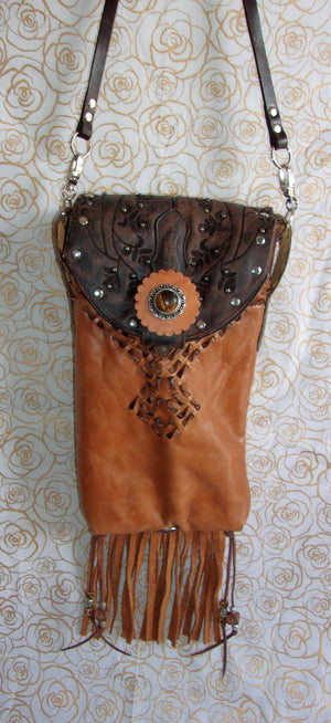 hanging tigers eye fringed unique small leather purse crossbody bag handcrafted from recycled cowboy boots