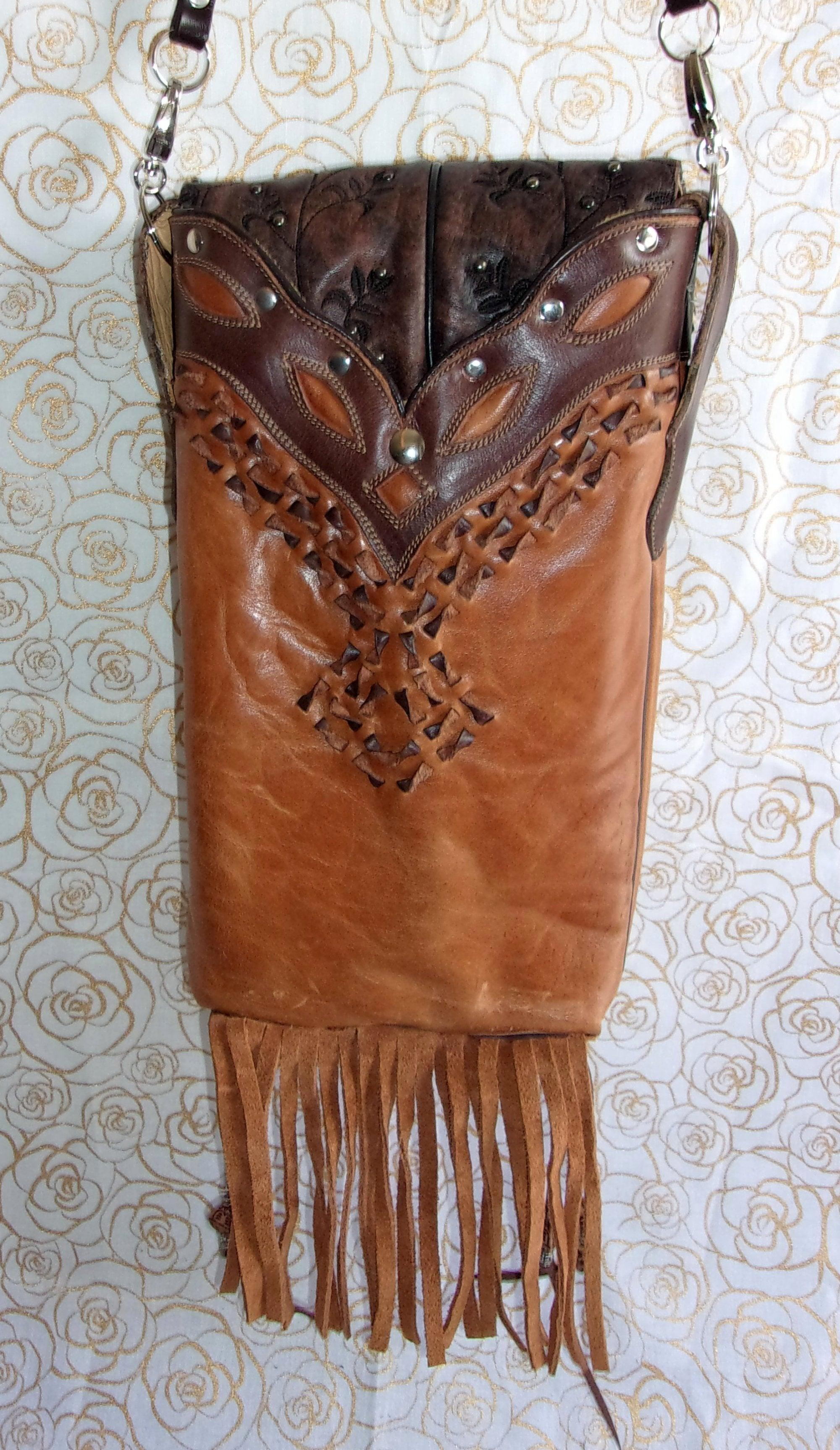 back of tigers eye fringed unique small leather purse crossbody bag handcrafted from recycled cowboy boots