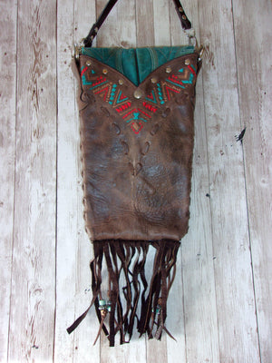 Turquoise Cross Fringed Cross-Body Leather Hipster HP606 - Cowboy Boot Purses by Chris Thompson for Distinctive Western Fashion