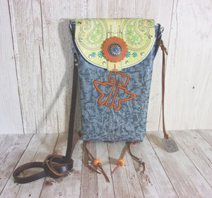 Blue Tin Haul Cross-Body Leather Hipster Cowboy Boot Purse HP611 - Chris Thompson Bags