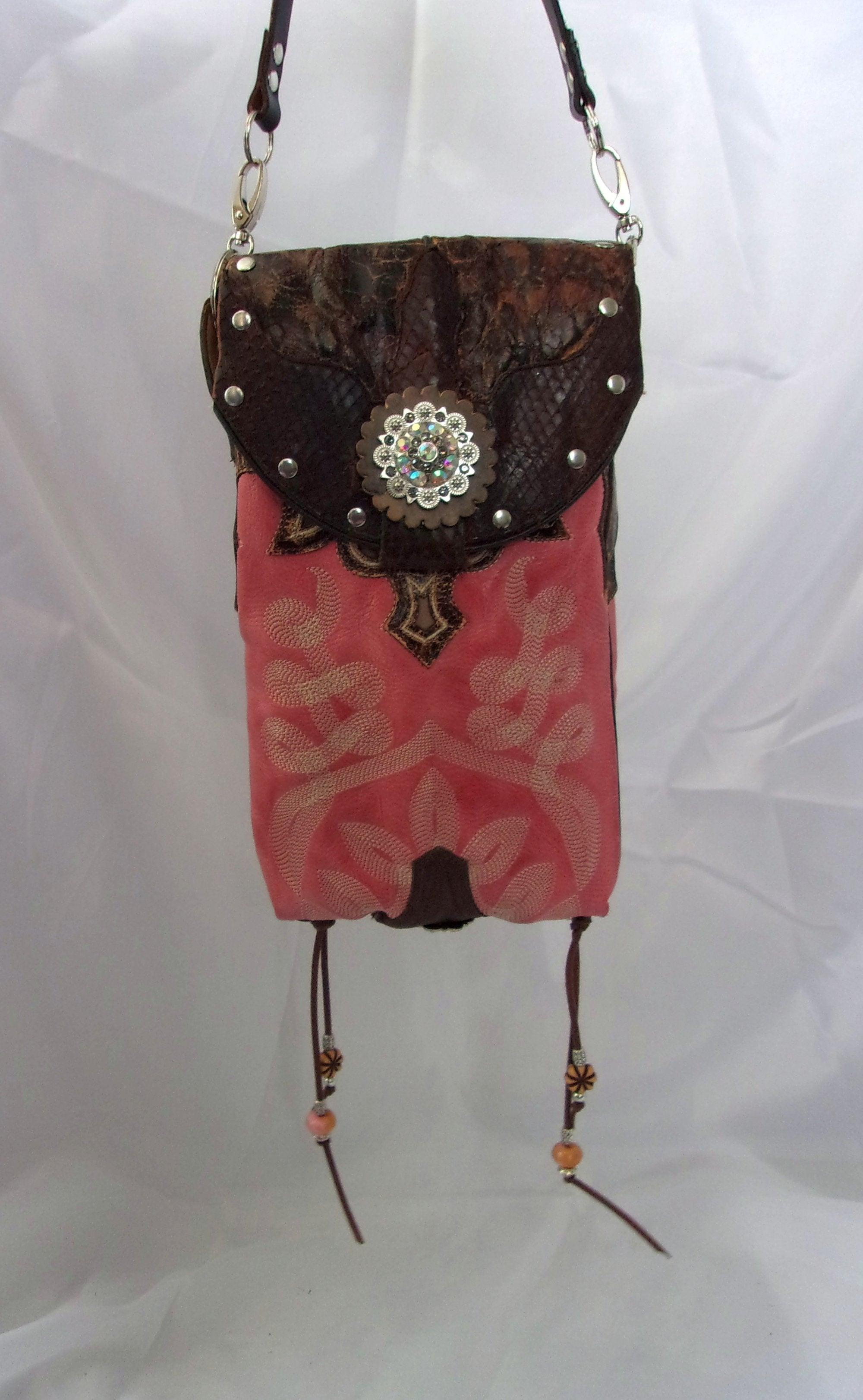 Pink Rhinestone Cross-Body Leather Hipster HP625 - Cowboy Boot Purses by Chris Thompson for Distinctive Western Fashion