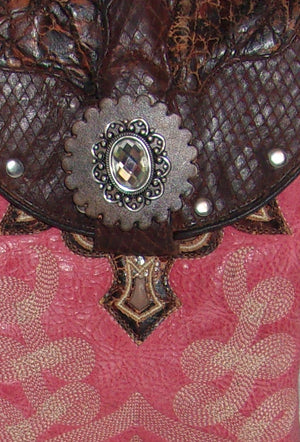Rhinestone Pink Cross-Body Leather Hipster HP629 - Cowboy Boot Purses by Chris Thompson for Distinctive Western Fashion