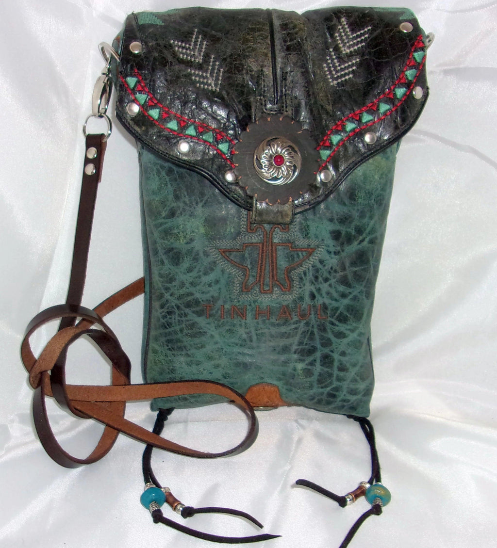unique santa fe southwest turquoise small leather crossbody bag