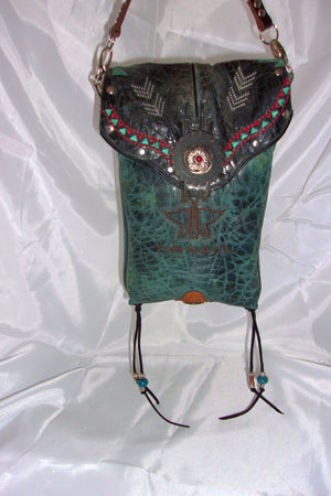 hanging unique santa fe southwest turquoise small leather crossbody bag