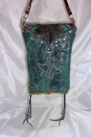 back of unique santa fe southwest turquoise small leather crossbody bag