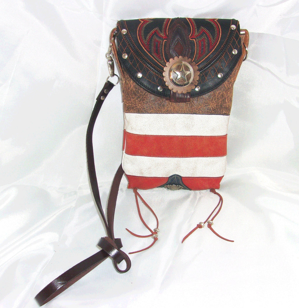 Brown Leather Americana Star Cross-Body Leather Hipster HP637