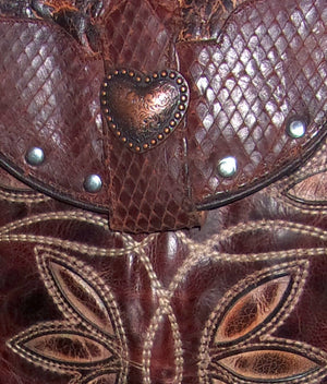 Copper Heart Cross-Body Leather Hipster HP640 - Cowboy Boot Purses by Chris Thompson for Distinctive Western Fashion