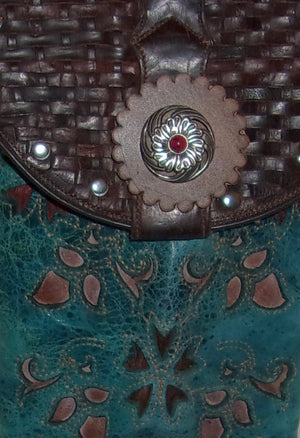 close up turquoise and red flowers handcrafted southwest cross-body small leather bag made from cowboy boots