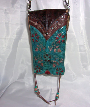 Flowers in Turquoise Cross-Body Leather Hipster HP644 - Cowboy Boot Purses by Chris Thompson for Distinctive Western Fashion