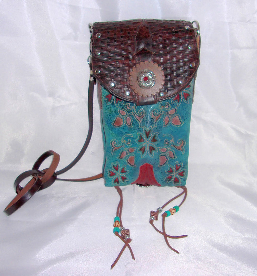 turquoise and red flowers handcrafted southwest cross-body small leather bag made from cowboy boots