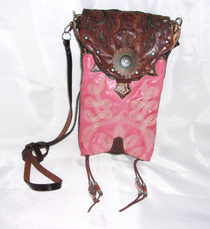 Pink and Brown Cross-Body Leather Hipster HP649 - Cowboy Boot Purses by Chris Thompson for Distinctive Western Fashion