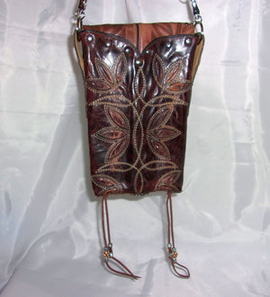 Brown Floral Cross-Body Leather Hipster HP650 - Cowboy Boot Purses by Chris Thompson for Distinctive Western Fashion