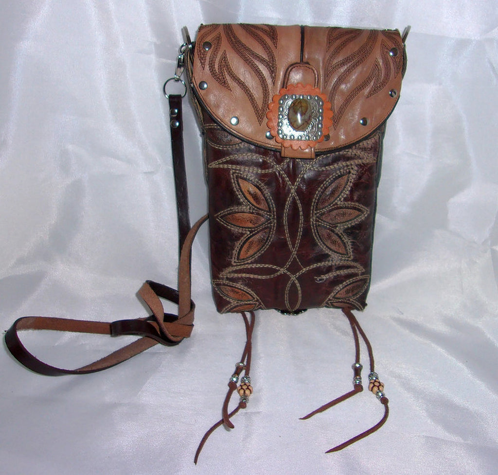 brown floral unique handcrafted cross-body small leather bag made from reclaimed recycled cowboy boots