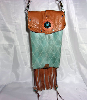 Cactus and Hearts Fringed Cross-Body Leather Hipster HP661 - Cowboy Boot Purses by Chris Thompson for Distinctive Western Fashion