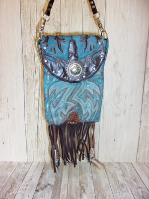 Blue Bird Fringed Cross-Body Leather Hipster Cowboy Boot Purse HP662
