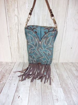 Blue Bird Fringed Cross-Body Leather Hipster Cowboy Boot Purse HP662 - Chris Thompson Bags