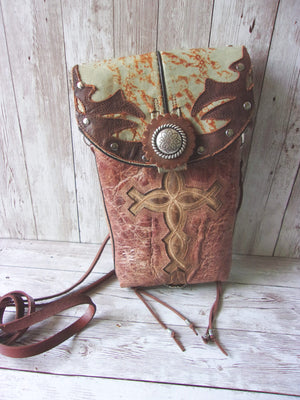 front view small leather cross cross-body messenger hipster bag handcrafted from reclaimed recycled cowboy boots