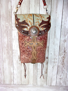 small leather cross cross-body messenger hipster bag handcrafted from reclaimed recycled cowboy boots