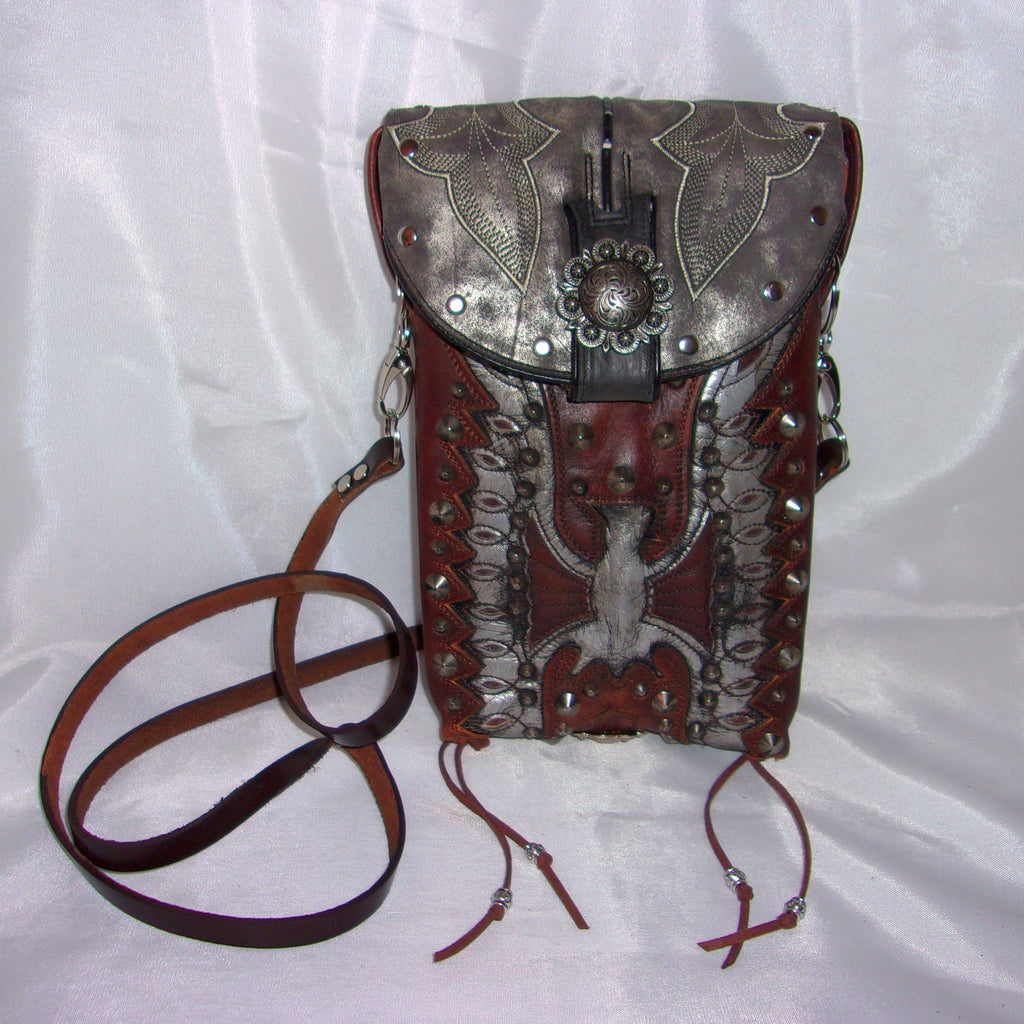 Silver Phoenix Cross-Body Leather Hipster HP695 - Cowboy Boot Purses by Chris Thompson for Distinctive Western Fashion