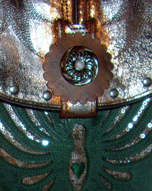 close up turquoise and silver phoenix rising small leather cross-body messenger hipster bag handcrafted from reclaimed recycled cowboy boots